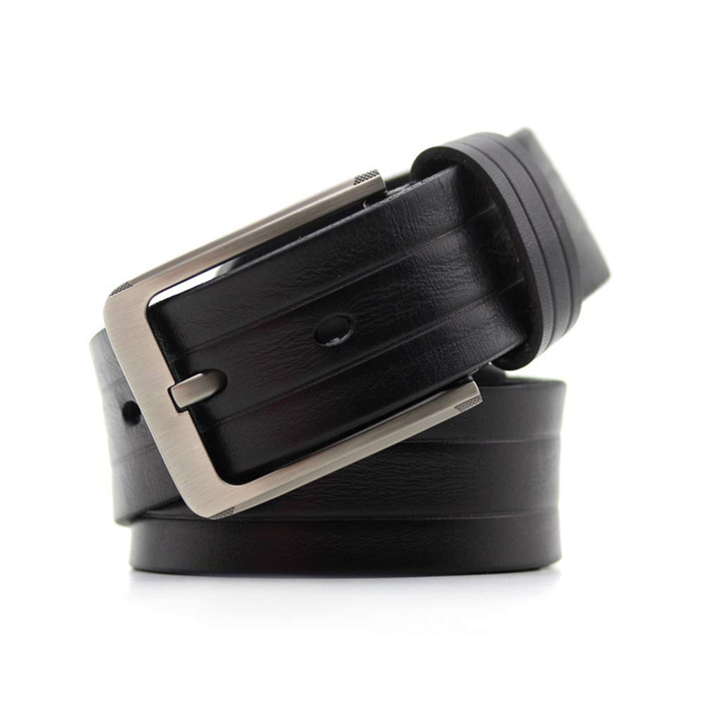 Crystalzhong-MW Mens Leather Strap Waistband Full Leather Mens Leather Belt Buckle All-Match Lady Simple Korean Formal Belt Color : Black, Size : XXL