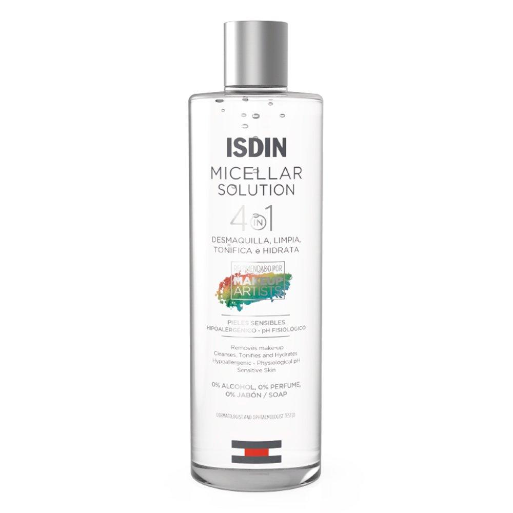 Agua micelar de Isdin que desmaquilla, limpia tonifica e hidrata.