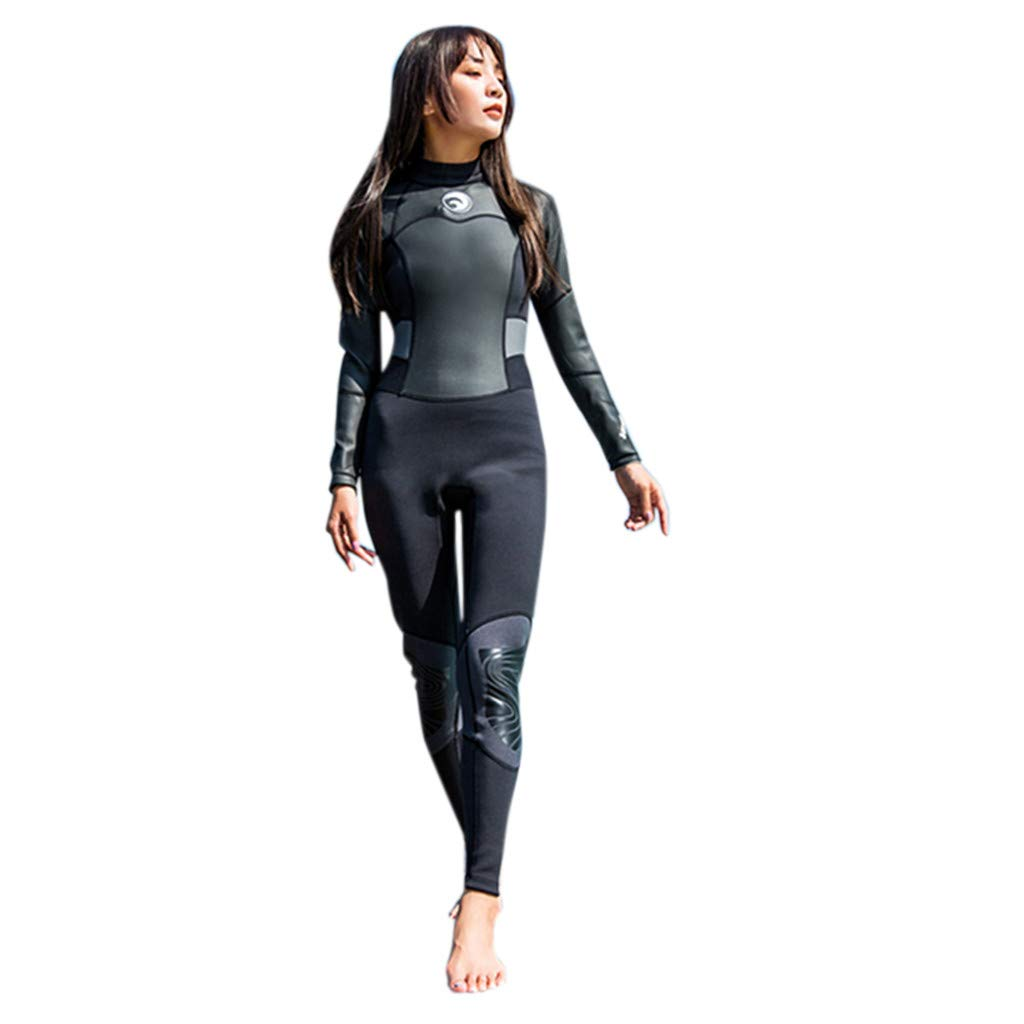 Seaintheson Women's Full Wetsuit,Summer 1.5mm Neoprene Long Sleeve Diving UV Protection Long Sleeves Scuba Diving Snorkeling Surfing (Black, XS)