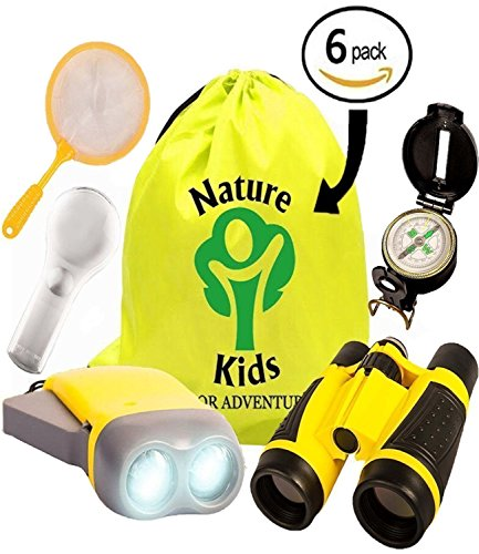 Adventure Kids - Educational Outdoor Children's Toys - Binoculars, Flashlight, Compass, Magnifying Glass, Butterfly Net & Backpack. Explorer Kit Great Kidz Gift Set For Camping, Hiking & Pretend Play Reading Together Pack