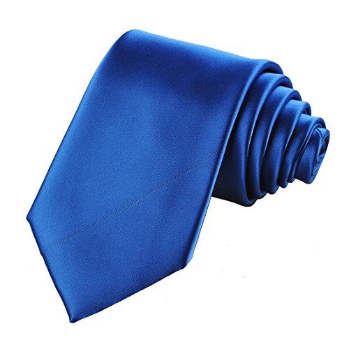 KissTies Royal Blue Satin Tie Solid Necktie Wedding Ties + Gift Box