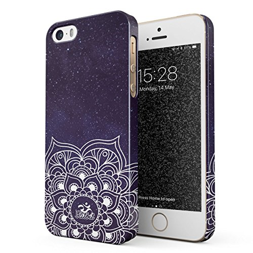 (Glitbit Compatible with iPhone 5 / 5s / SE Case Mandala Namaste Zentangle Zen Pattern Cosmic Galaxy Stars Tumblr Space Thin Design Durable Hard Shell Plastic Protective Case Cover)