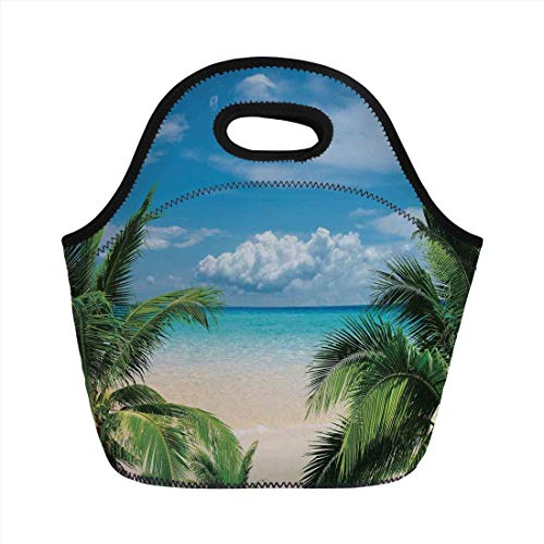 (Tropical Decor,Beach Relaxation Waterscape Island Honeymoon Traveling Seaside Shoreline Decorative,for Kids Adult Thermal Insulated Tote Bags)