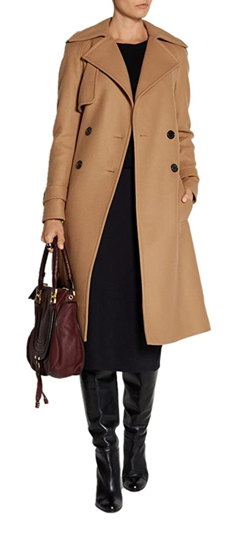 Amazon.com: AZIZY Womens Classic Camel Double Breasted Lapel Thick Long Wool Blend Coat With Belt: Clothing