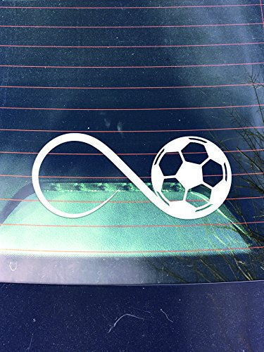DD469 Soccer Inifinity Decal Sticker | 7.5-Inches By 2.5-Inches | Premium Quality White Vinyl