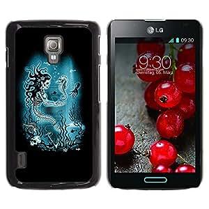 Estuche Cubierta Shell Smartphone estuche protector duro para el teléfono móvil Caso LG Optimus L7 II P710 / L7X P714 / CECELL Phone case / / Mermaid Skull Skeleton Seahorse /
