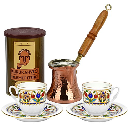 Turkish Coffee World Turkish Coffee Set for Two with Store Coffee (8.8 oz/250 g)