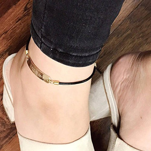 / Custom Leather chain personalized Anklet / Hand made / 16k Gold Silver plated Black Brown / Christmas Wedding Birthday gifts