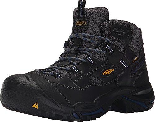 KEEN Utility - Men's Braddock Mid (Soft Toe) Waterproof Work Boot, Raven/Estate Blue, 11 EE (Soft Waterproof Work Boots Toe)