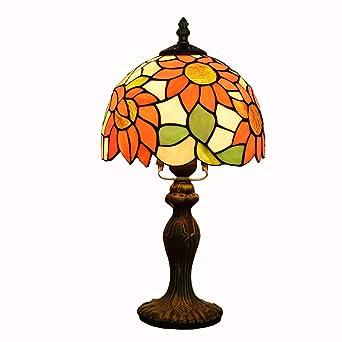 Lámpara de mesa de estilo Tiffany, 8 pulgadas retro naranja ...