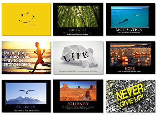 (9x Poster Motivational Self Positive Office Quotes Inspirational Success Teamwork Dream Focus Responsibility Prints 20x13