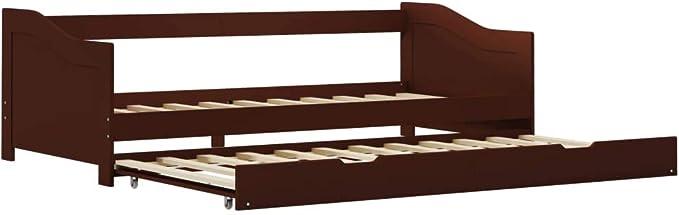 vidaXL Estructura de Sofá Cama Individual Somier Supletorio Dormir Invitados de Madera de Pino Marrón 90x200 cm