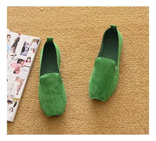 Zapatos Superficial Ni C Cuadrado Inferior Guisantes Vuelta Plano Soft a Gamuza WULIFANG TZvnBOxRqO