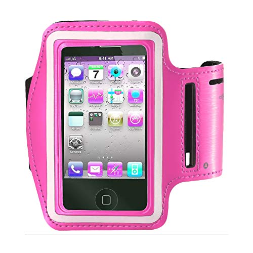 Cell Phone Armband: 5.7 Inch Case for iPhone X XS MAX XR 8/8plus/7 Plus, 6/6S Plus, S9 S8, All Galaxy Note Phones.etc.CaseHQ Adjustable Reflective Workout Band, Key Holder & Screen Protector (Pink)