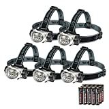 EverBrite 5-Pack LED Headlamp Flashlight for Running, Camping, Reading, Fishing, Hunting, Walking, Jogging