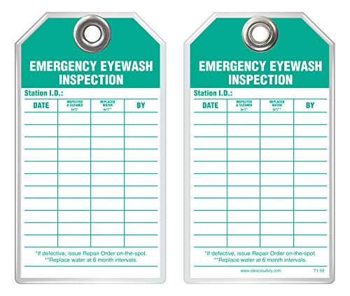 Idesco Safety T159A Inspection Safety Tag - Emergency Eyewash Inspection, English, Rigid Plastic, Standard, 3-3/8