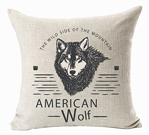 American Nordic Mountain Wildlife Wolf Moose Badges Crafted Eagle Cotton Linen Throw Pillow Case Cushion Cover New Home Indoor Decorative Square 18X18 Inches