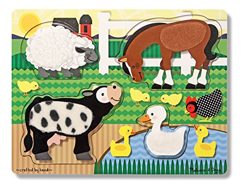 Melissa & Doug Farm Animals Touch and Feel Textured Wooden Puzzle
