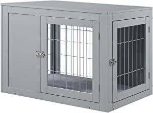 unipaws Dog Crate End Table with Cushion, Wooden Wire Pet Kennels with Double Doors, Modern Design Dog House, Medium and Large Crate Indoor Use, Chew-Proof, Gray
