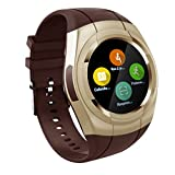 Smart Watch Bluetooth Smartwatch Touch Screen Wearable Multi-function Sport Business Wristwatch for Android Support SIM/TF Card(Gold)