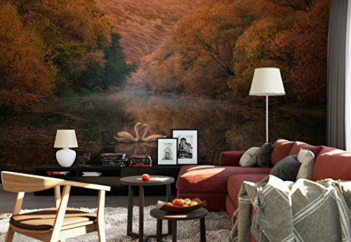 Photo wallpaper wall mural - Swans Pair Lake Autumn Trees Forest - Theme Lakes - XL - 12ft x 8ft 4in (WxH) - 4 Pieces - Printed on 130gsm Non-Woven Paper - 1X-335525V8 ()