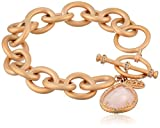 Freida Rothman ''Links'' Collection Rose Quartz Teardrop Heavy Links Bracelet