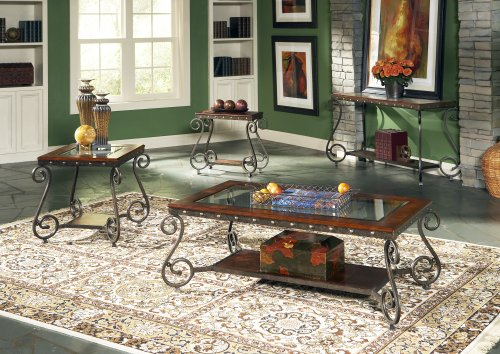 Scrolled Edge Glass Top Table - Steve Silver Ellery Glass Top Sofa Table w Nailhead Trim Decor