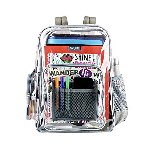 Heavy Duty Clear Backpack Durable Military Nylon Clear Bookbags Transparent Backpack for School Work (Medium, Gray)