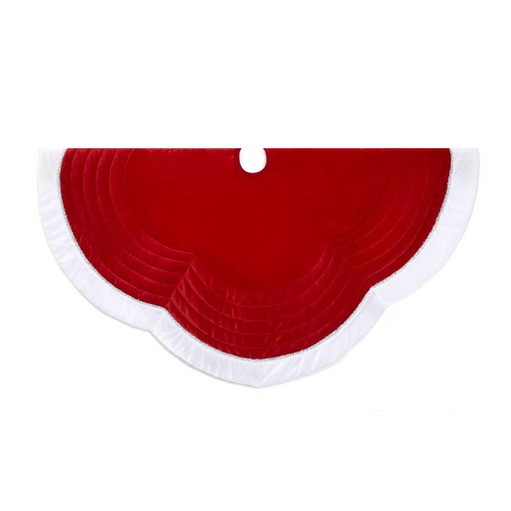 Kurt Adler 48-Inch Velvet Red with White Border Treeskirt