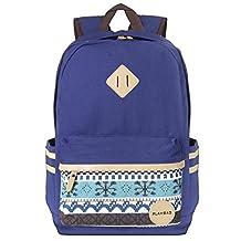 """Plambag Causal Lightweight Canvas Cute Backpack 14"""" Laptop Teen School Bag Navy Blue"""