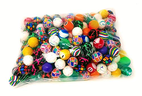 4E's Novelty Mega Bulk Assortment of 144 Bouncy Super Balls Mix for Kids, High Bouncing Swirl Rubber Balls, Great Bounce Party Favor Toys, Carnival Fun Prizes, for Boys and Girls 1