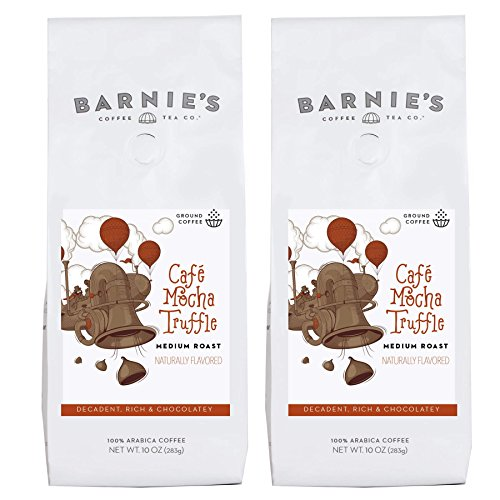 Barnie's Café Mocha Truffle Ground Coffee | Decadent and Rich Chocolate Coffee | Naturally Flavored | Sugar Free, Nut Free, Gluten Free, Fat Free | Medium Roasted Arabica Coffee Beans | 2-Pack