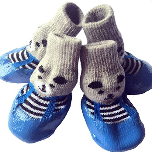 Petsidea Dog Traction Socks with Grippers, Waterproof Non-slip Dog Booties Rain Boot for Puppy Cats (Large, Blue)