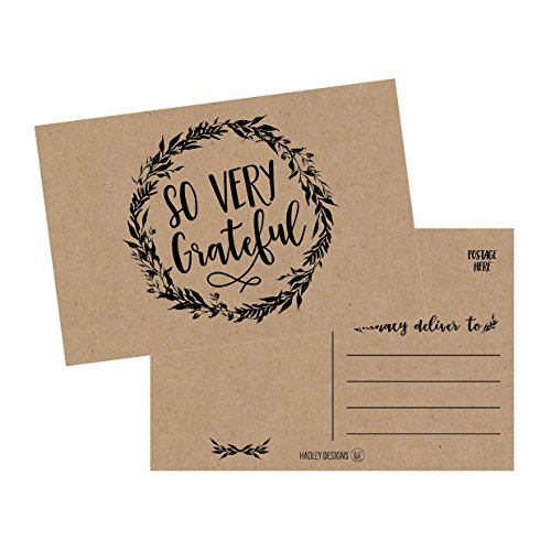 50 4x6 Rustic Kraft Thank You Postcards Bulk, Cute Matte Floral Thank You Note Card Stationery Set For Wedding, Bridesmaid, Bridal or Baby Shower, Teachers, Appreciation, Religious, Business, Holidays