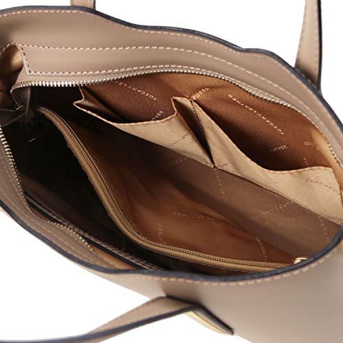 modèle cabas en Tuscany Sac Leather Ruga cuir Olimpia Foncé Petit Taupe TL141521 Noir Tqt66dw8W