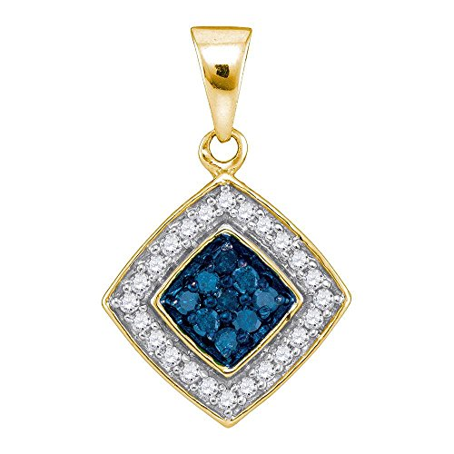 Fashion Pendant 10k Yellow Gold Cluster Charm Round Stones Fancy Small 1/4 Cttw (Gold Square Charm)
