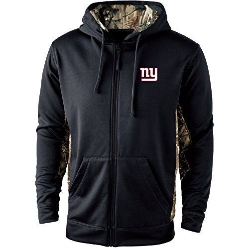 Dunbrooke Apparel NFL New York Giants Mens 5411Decoy Camo Accent Fullzip Tech Fleece, Black with Camo, Medium ()
