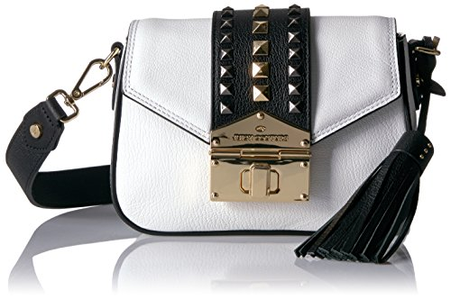 Juicy Couture Crossbody Bag with Gold Studs and Buckle Strap, Bleached Bone
