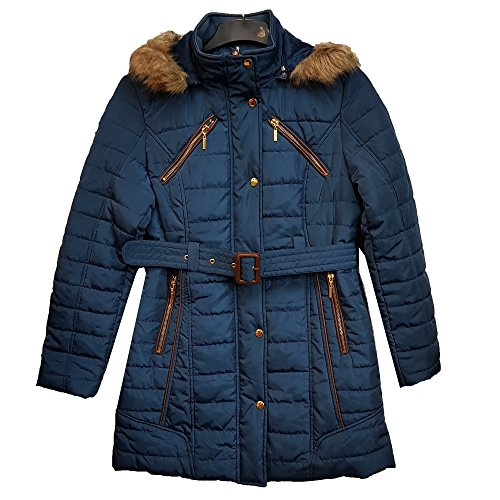 (Eliza Gray) Sell by Suit and Suit New Women Designer Line Padded Winter Ladies Fur Belt Hooded Puffer Coat Jacket Metallic Blue