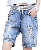 Chouyatou Women's Classic Five-Pocket Ripped Midi Denim Shorts Destruction