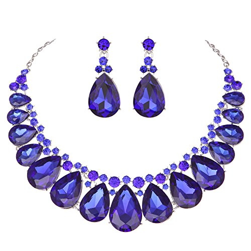 Youfir Water Drops Austria Crystal Necklace Earrings Set for Bridal Wedding Ceremony Events Dress(Blue)