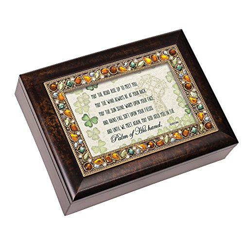 Cottage Garden May The Road Rise Up to Meet You Brushed Pewter Jewelry Music Box Plays Irish Eyes - Music Pewter Box