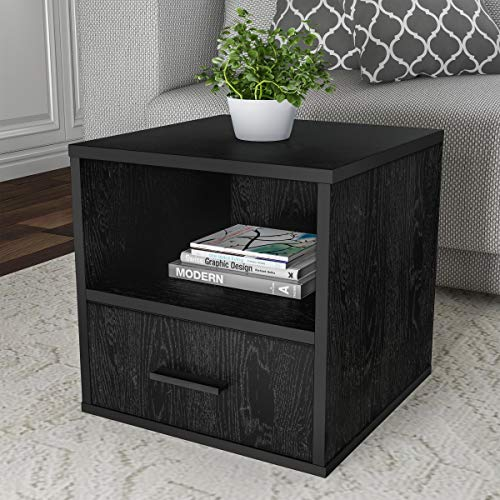 - Lavish Home 80-MOD-8 End Stackable Contemporary Minimalist Modular Cube Accent Table with Drawer for Bedroom, Living Room or Office (Black),