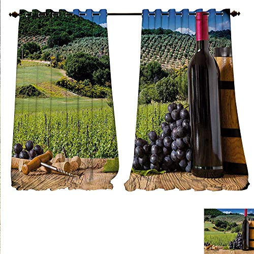 familytaste Waterproof Window Curtain Idyllic Tuscany Country Landscape Agriculture Harvest Grape Plantation Waterproof Window Curtain W96 x L84 Black Green Pale Brown.jpg