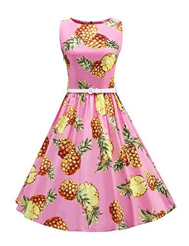 fd0882a6c34 Ballkleid Retro Hepburn Gürtel Damen 60er Abendkleid Ananas 50er Jahre  Rockabilly Mit Stoffdruck Vkstar Rosa Kleid ...