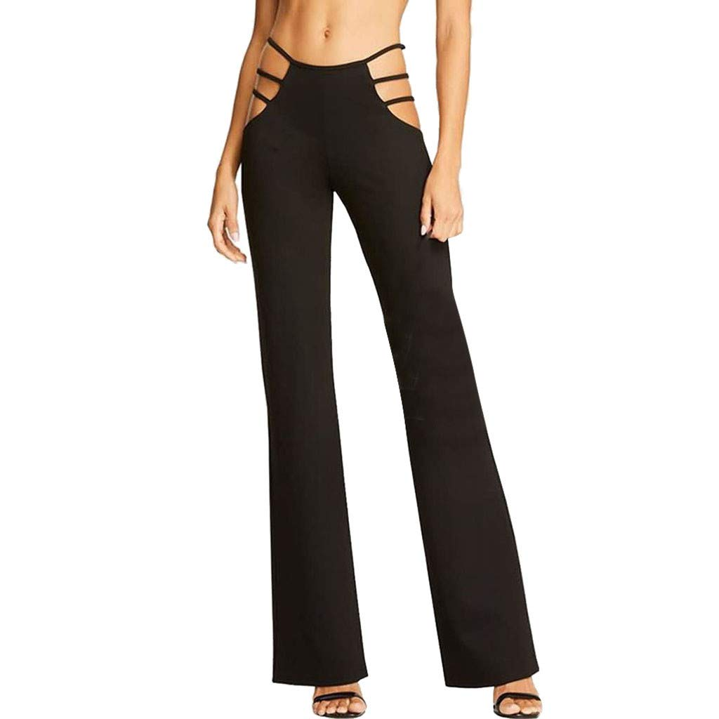 Sunyastor Women Trousers High Waisted Strappy Cutout Leggings Workout Sexy Cutout Solid Strappy Casual Bell-Bottomed Pants Black