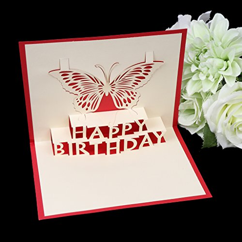 Bottone 3D Pop Up Card Butterfly Happy Birthday Greeting Cards Invitations Handmade Gift