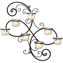 Stonebriar Transitional Scrolled Ivy Tea Light Candle Holder Hanging Wall Sconce, Modern Home Decor for Living Room, Bedroom, Hallway, or Bathroom, Black
