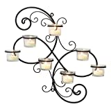 bathroom wall decor ideas Stonebriar Transitional Scrolled Ivy Tea Light Candle Holder Hanging Wall Sconce, Modern Home Decor for Living Room, Bedroom, Hallway, or Bathroom, Black