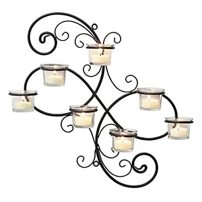 "Stonebriar Transitional Scrolled Ivy Tea Light Candle Holder Hanging Wall Sconce, Modern Home Decor for Living Room, Bedroom, Hallway, or Bathroom, Black, 7-tealight, - Wall sconce features an elegant ivy swirl black metal frame and 7 removable glass tea light candle holder inserts (Candles not included) Wall sconce measures 15. 8"" x 15. 5"" x 3"" and is the perfect size for the living room, bedroom, dining room, and hallway Stonebriar Tea Light Wall Sconce is easily installed with 2 wall hooks, nails, or screws (Hardware not included) - bathroom-lights, bathroom-fixtures-hardware, bathroom - 51hWysUWHqL. SS400  -"